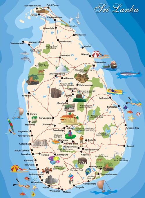 Map of Sri Lanka | Tourist Map of Sri Lanka With All Cities